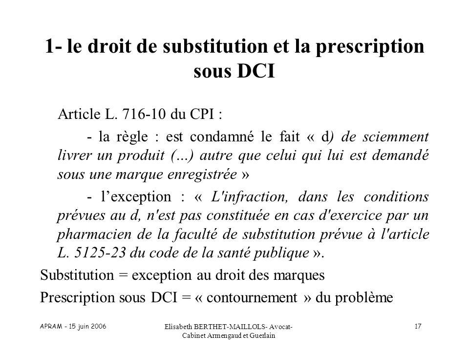 APRAM - 15 juin 2006 Elisabeth BERTHET-MAILLOLS- Avocat- Cabinet Armengaud et Guerlain 17 1- le droit de substitution et la prescription sous DCI Arti