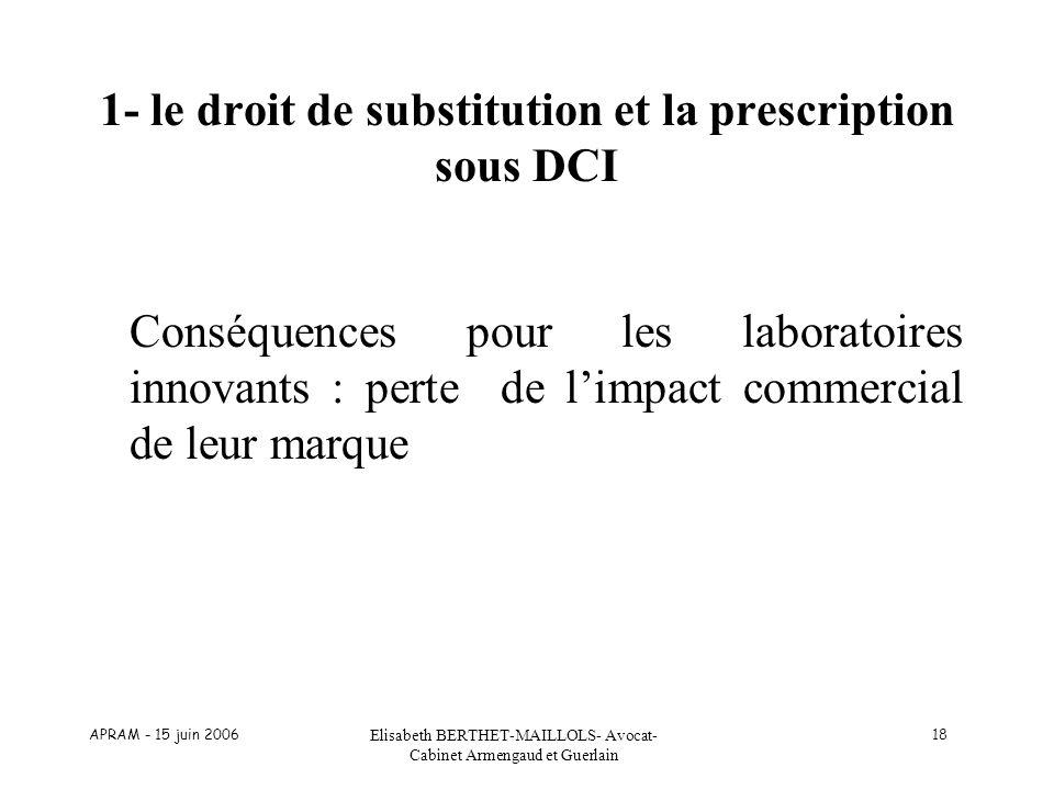 APRAM - 15 juin 2006 Elisabeth BERTHET-MAILLOLS- Avocat- Cabinet Armengaud et Guerlain 18 1- le droit de substitution et la prescription sous DCI Cons