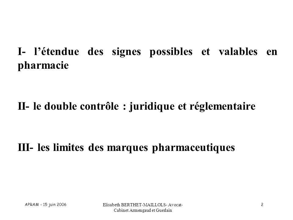 APRAM - 15 juin 2006 Elisabeth BERTHET-MAILLOLS- Avocat- Cabinet Armengaud et Guerlain 2 I- létendue des signes possibles et valables en pharmacie II-