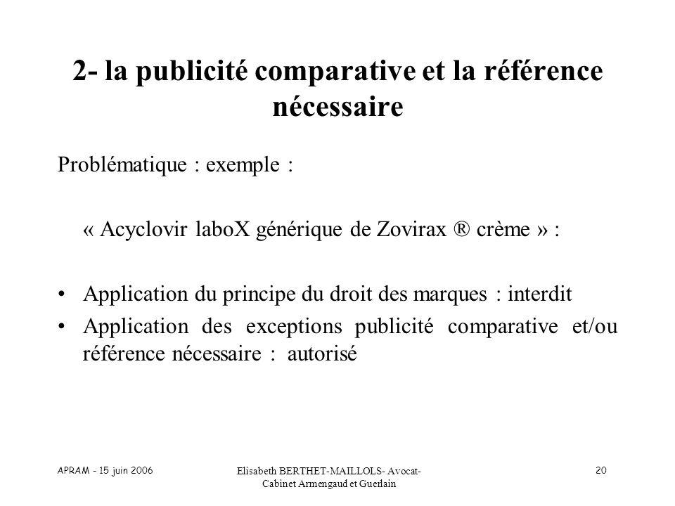 APRAM - 15 juin 2006 Elisabeth BERTHET-MAILLOLS- Avocat- Cabinet Armengaud et Guerlain 20 2- la publicité comparative et la référence nécessaire Probl