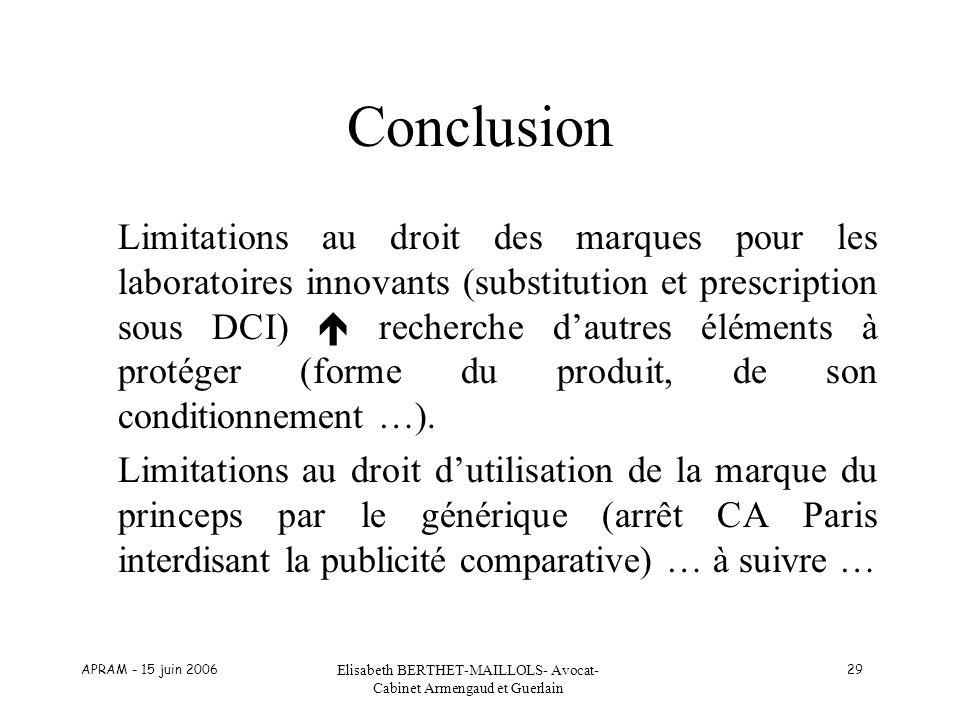APRAM - 15 juin 2006 Elisabeth BERTHET-MAILLOLS- Avocat- Cabinet Armengaud et Guerlain 29 Conclusion Limitations au droit des marques pour les laborat
