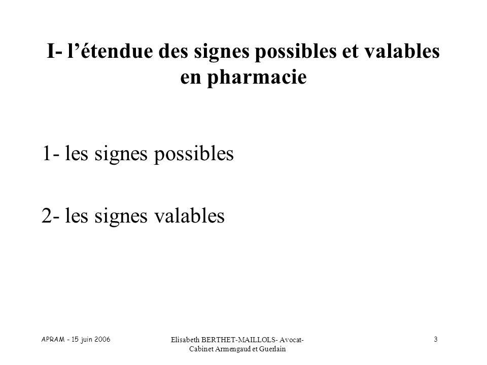 APRAM - 15 juin 2006 Elisabeth BERTHET-MAILLOLS- Avocat- Cabinet Armengaud et Guerlain 3 I- létendue des signes possibles et valables en pharmacie 1-
