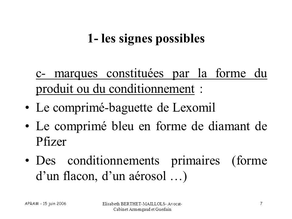 APRAM - 15 juin 2006 Elisabeth BERTHET-MAILLOLS- Avocat- Cabinet Armengaud et Guerlain 7 1- les signes possibles c- marques constituées par la forme d