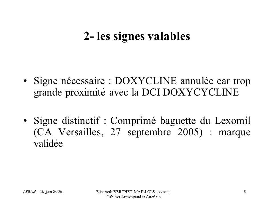 APRAM - 15 juin 2006 Elisabeth BERTHET-MAILLOLS- Avocat- Cabinet Armengaud et Guerlain 9 2- les signes valables Signe nécessaire : DOXYCLINE annulée c