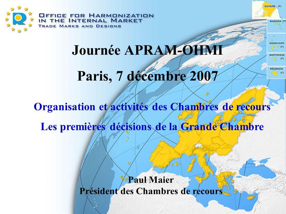 Journée APRAM-OHMI Paris, 7 décembre 2007 Organisation et activités des Chambres de recours Les premières décisions de la Grande Chambre Paul Maier Pr