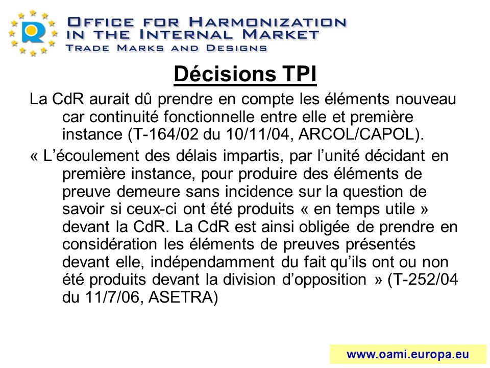 Décisions TPI La CdR aurait dû prendre en compte les éléments nouveau car continuité fonctionnelle entre elle et première instance (T-164/02 du 10/11/