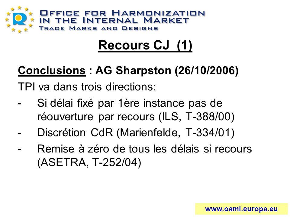 Recours CJ (1) Conclusions : AG Sharpston (26/10/2006) TPI va dans trois directions: -Si délai fixé par 1ère instance pas de réouverture par recours (
