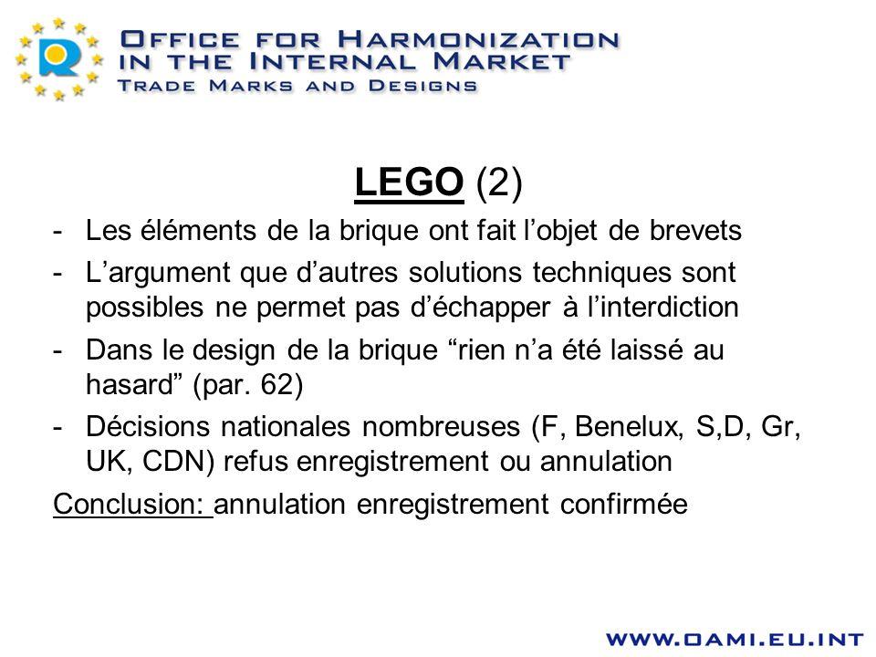 LEGO (2) -Les éléments de la brique ont fait lobjet de brevets -Largument que dautres solutions techniques sont possibles ne permet pas déchapper à li