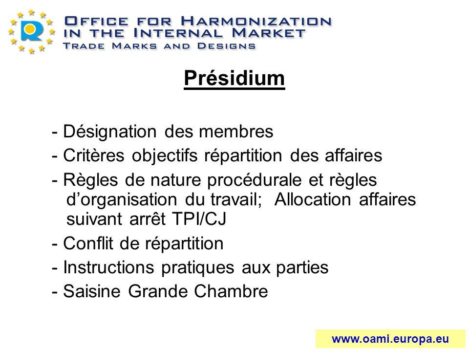 Présidium - Désignation des membres - Critères objectifs répartition des affaires - Règles de nature procédurale et règles dorganisation du travail; A