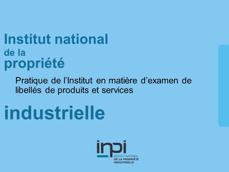 industrielle Institut national de la propriété Pratique de lInstitut en matière dexamen de libellés de produits et services