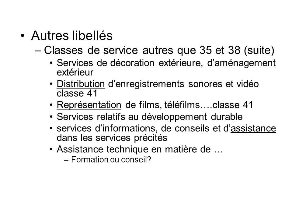 Autres libellés –Classes de service autres que 35 et 38 (suite) Services de décoration extérieure, daménagement extérieur Distribution denregistrement