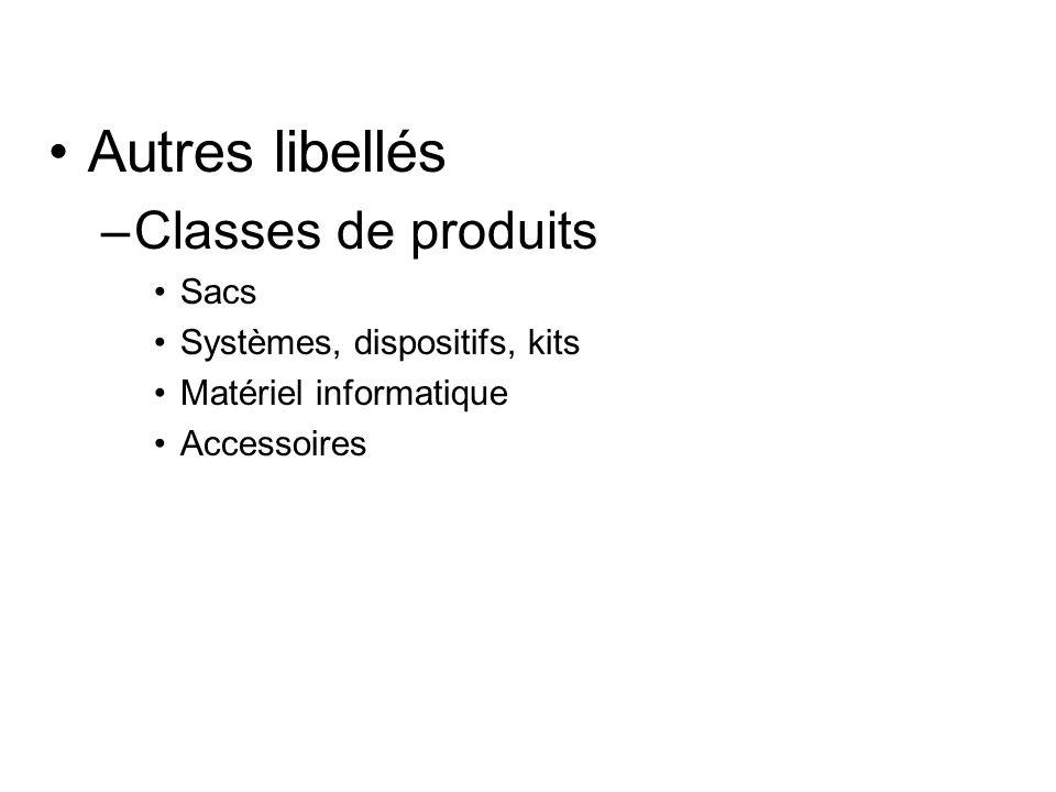 Autres libellés –Classes de produits Sacs Systèmes, dispositifs, kits Matériel informatique Accessoires