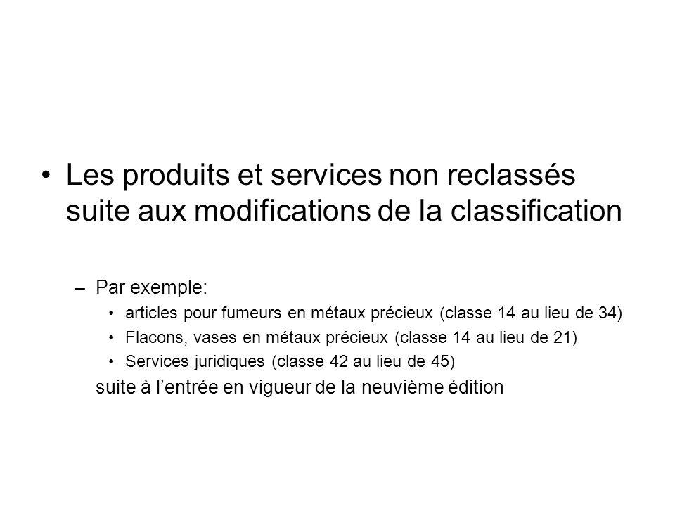 Les produits et services non reclassés suite aux modifications de la classification –Par exemple: articles pour fumeurs en métaux précieux (classe 14