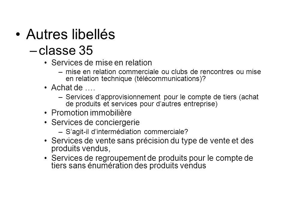 Autres libellés –classe 35 Services de mise en relation –mise en relation commerciale ou clubs de rencontres ou mise en relation technique (télécommun
