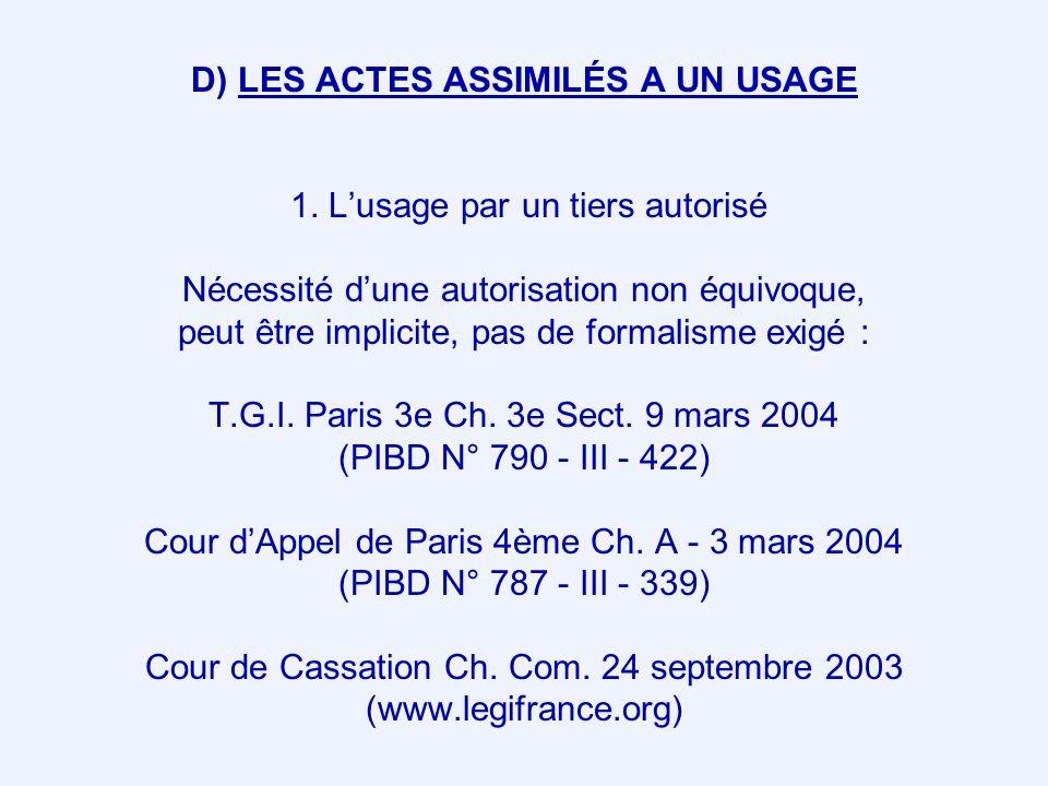 D) LES ACTES ASSIMILÉS A UN USAGE 1. Lusage par un tiers autorisé Nécessité dune autorisation non équivoque, peut être implicite, pas de formalisme ex