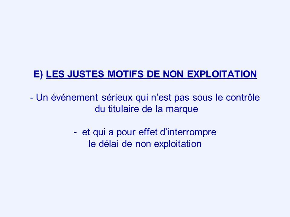 E) LES JUSTES MOTIFS DE NON EXPLOITATION - Un événement sérieux qui nest pas sous le contrôle du titulaire de la marque - et qui a pour effet dinterro