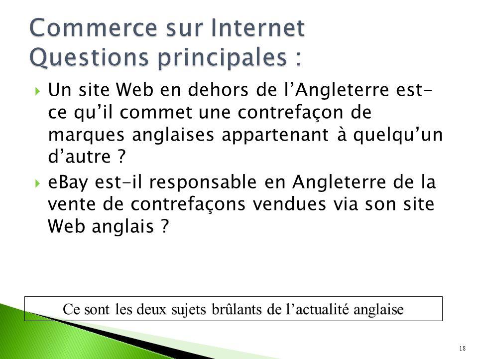 Un site Web en dehors de lAngleterre est- ce quil commet une contrefaçon de marques anglaises appartenant à quelquun dautre .