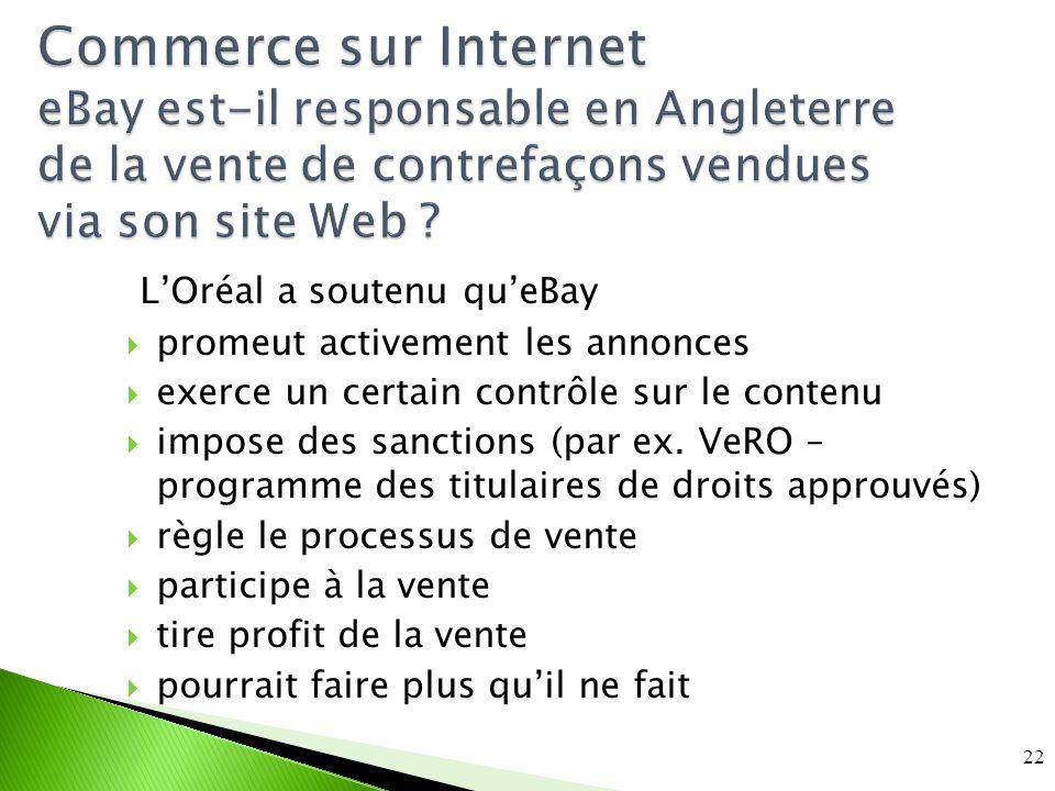 Commerce sur Internet eBay est-il responsable en Angleterre de la vente de contrefaçons vendues via son site Web .