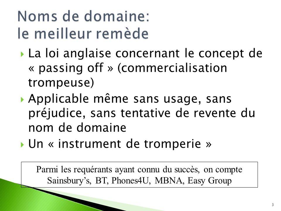 Rarement s10(1) (Article 9(1)(a)) Peut-être s10(3) (Article 9(1)(c)) Le nom de domaine nest pas utilisé dans une classe dactivité pour laquelle la marque a été enregistrée 4 Les moyens de défense habituels sappliquent même sil sagit de contrefaçon de marque