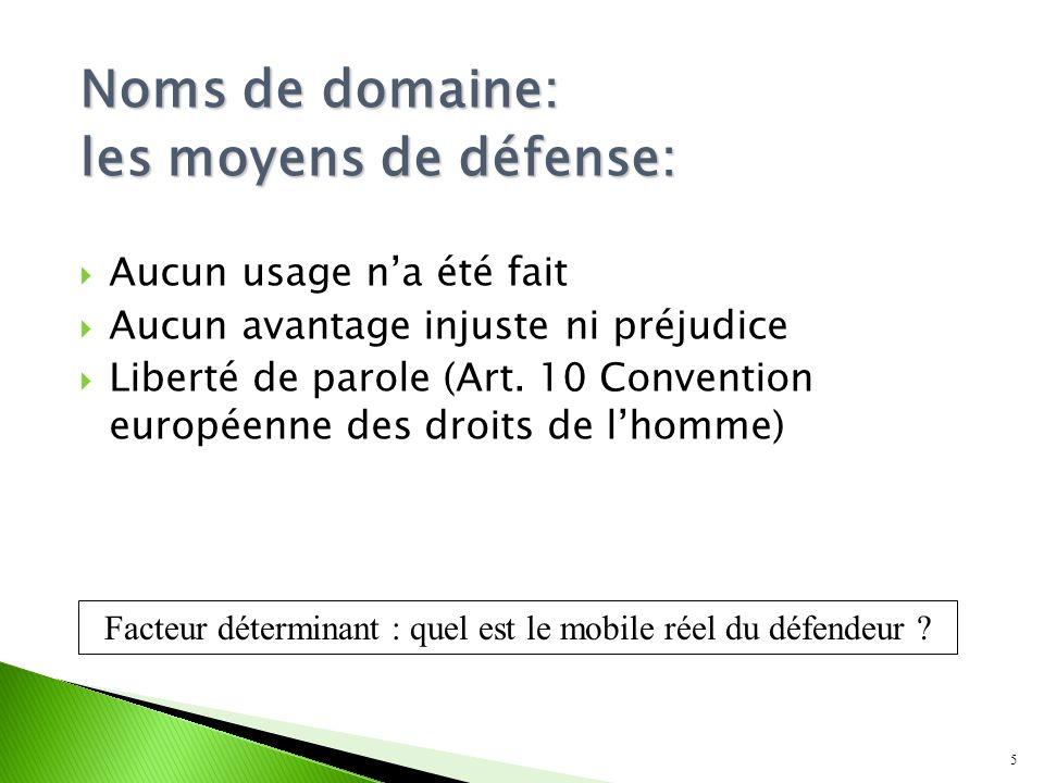 Noms de domaine: les moyens de défense: Aucun usage na été fait Aucun avantage injuste ni préjudice Liberté de parole (Art.