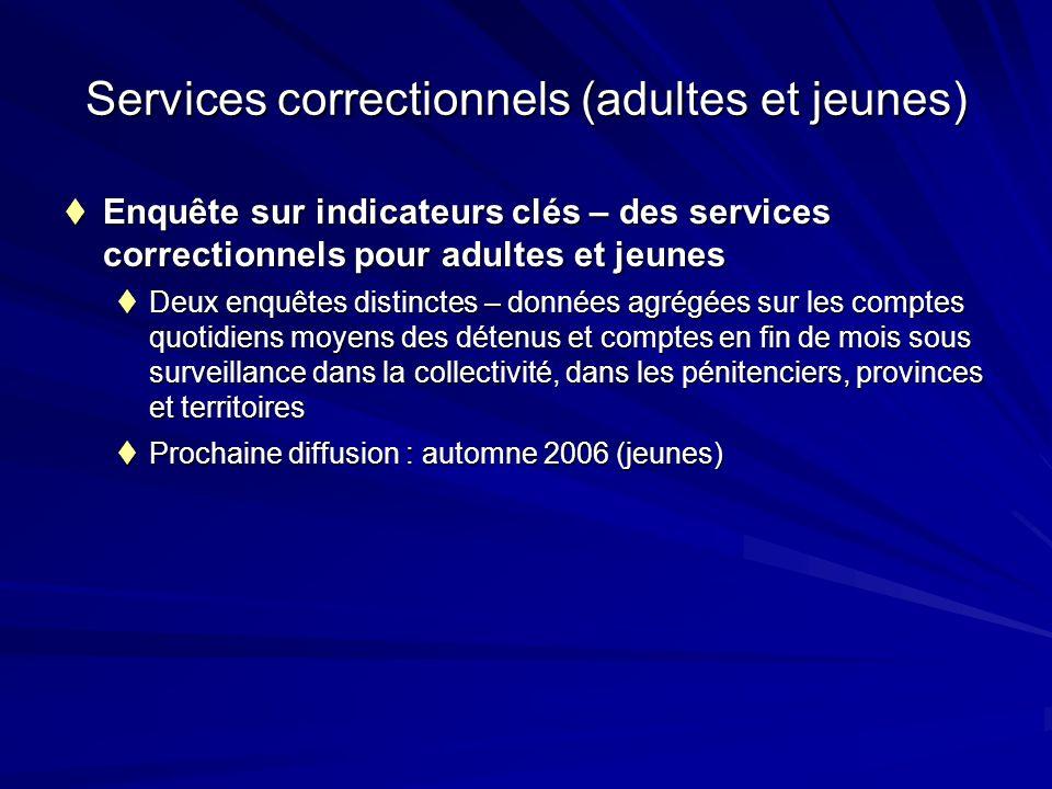 Services correctionnels (adultes et jeunes) Enquête sur indicateurs clés – des services correctionnels pour adultes et jeunes Enquête sur indicateurs