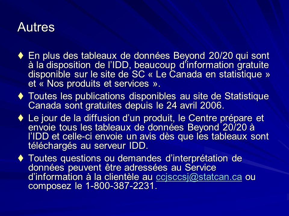 Autres En plus des tableaux de données Beyond 20/20 qui sont à la disposition de lIDD, beaucoup dinformation gratuite disponible sur le site de SC « Le Canada en statistique » et « Nos produits et services ».
