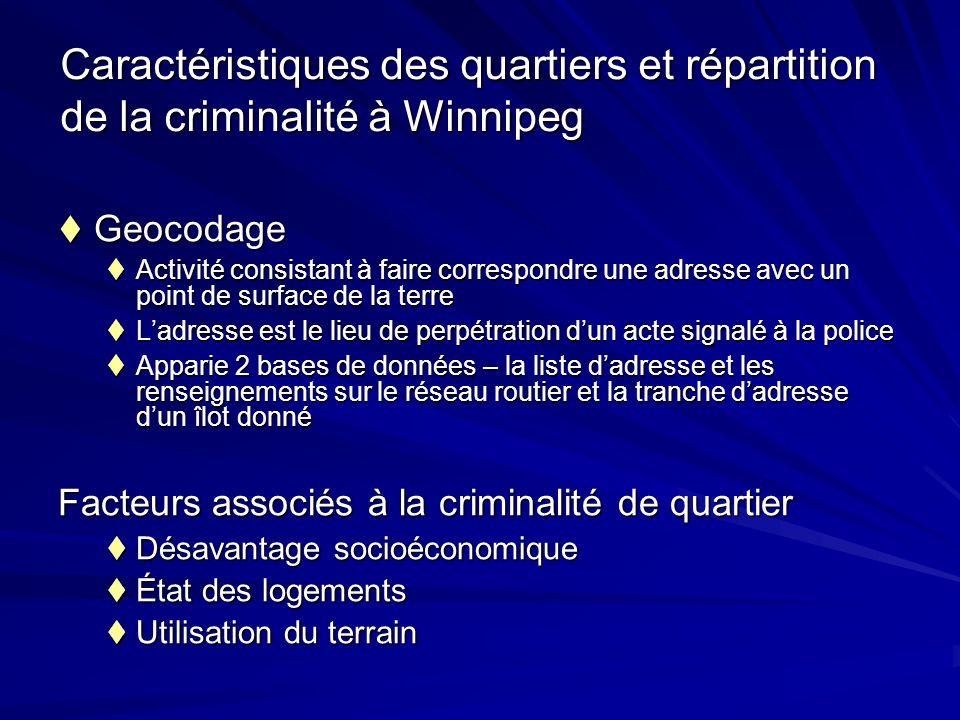 Caractéristiques des quartiers et répartition de la criminalité à Winnipeg Geocodage Geocodage Activité consistant à faire correspondre une adresse av