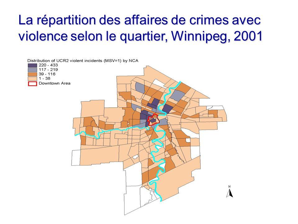 La répartition des affaires de crimes avec violence selon le quartier, Winnipeg, 2001