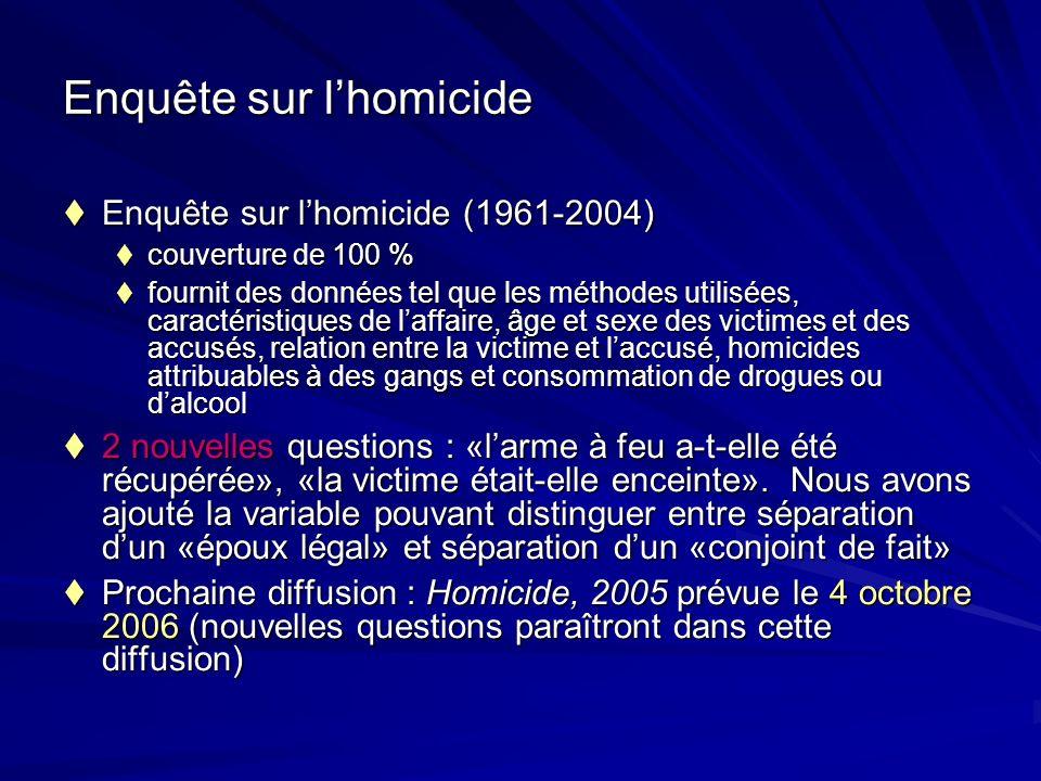 Enquête sur lhomicide Enquête sur lhomicide (1961-2004) Enquête sur lhomicide (1961-2004) couverture de 100 % couverture de 100 % fournit des données