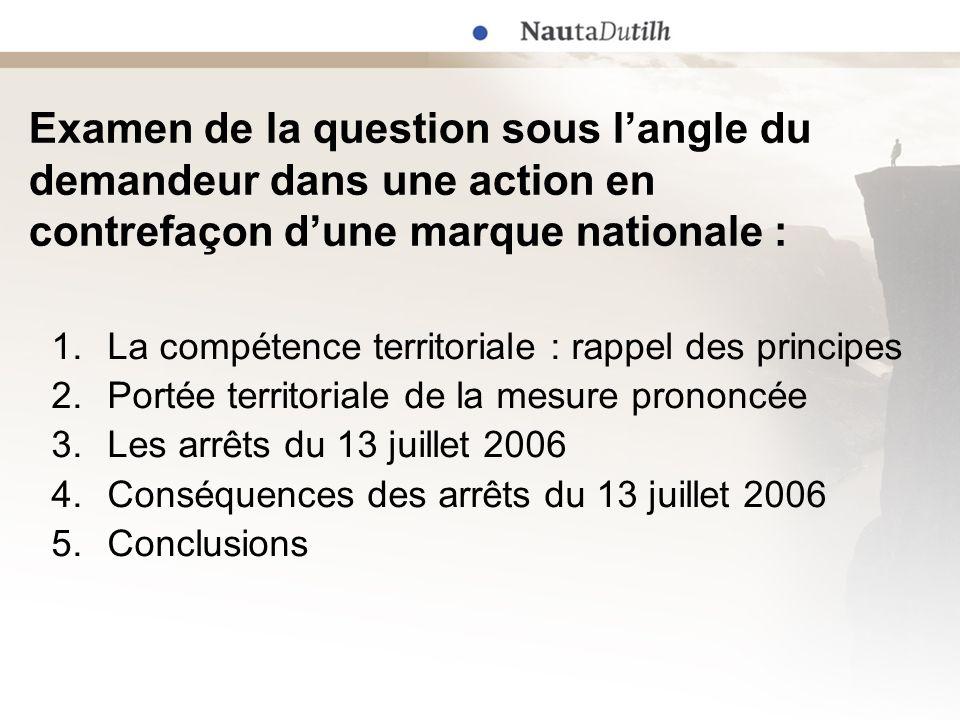 Application du Règlement Bruxelles I article 23 (1) & 24, : accord explicite ou implicite des parties article 2 (1) : le domicile du défendeur article 5 (3) : le lieu du fait dommageable article 6 (1) : le domicile dun des défendeurs NB : article 22 (4) : compétence exclusive 1.