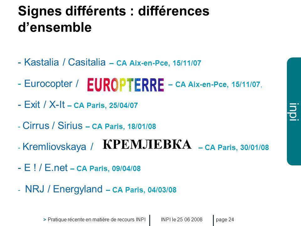 inpi INPI le 25 06 2008 > Pratique récente en matière de recours INPI page 24 Signes différents : différences densemble - Kastalia / Casitalia – CA Ai