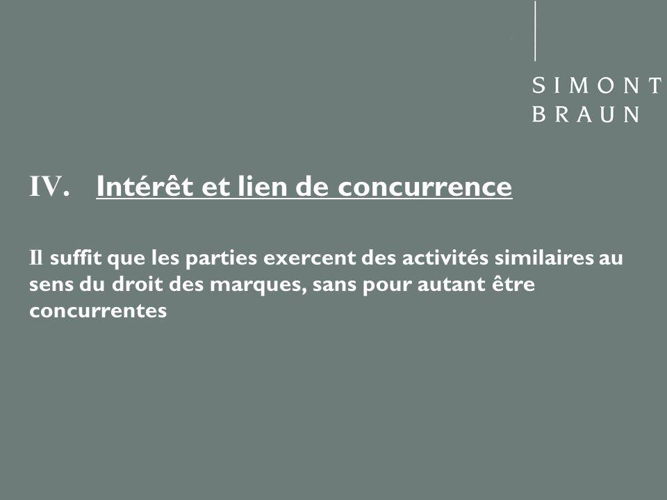 IV. Intérêt et lien de concurrence Il suffit que les parties exercent des activités similaires au sens du droit des marques, sans pour autant être con