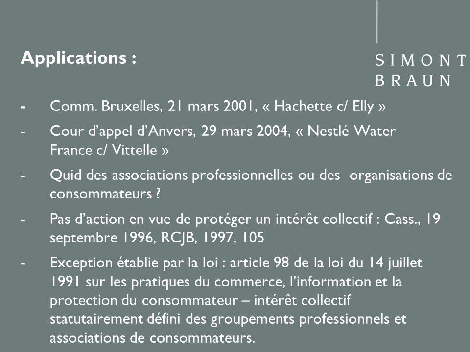 Applications : - Comm. Bruxelles, 21 mars 2001, « Hachette c/ Elly » - Cour dappel dAnvers, 29 mars 2004, « Nestlé Water France c/ Vittelle » - Quid d