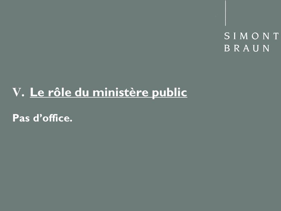 V. Le rôle du ministère public Pas doffice.