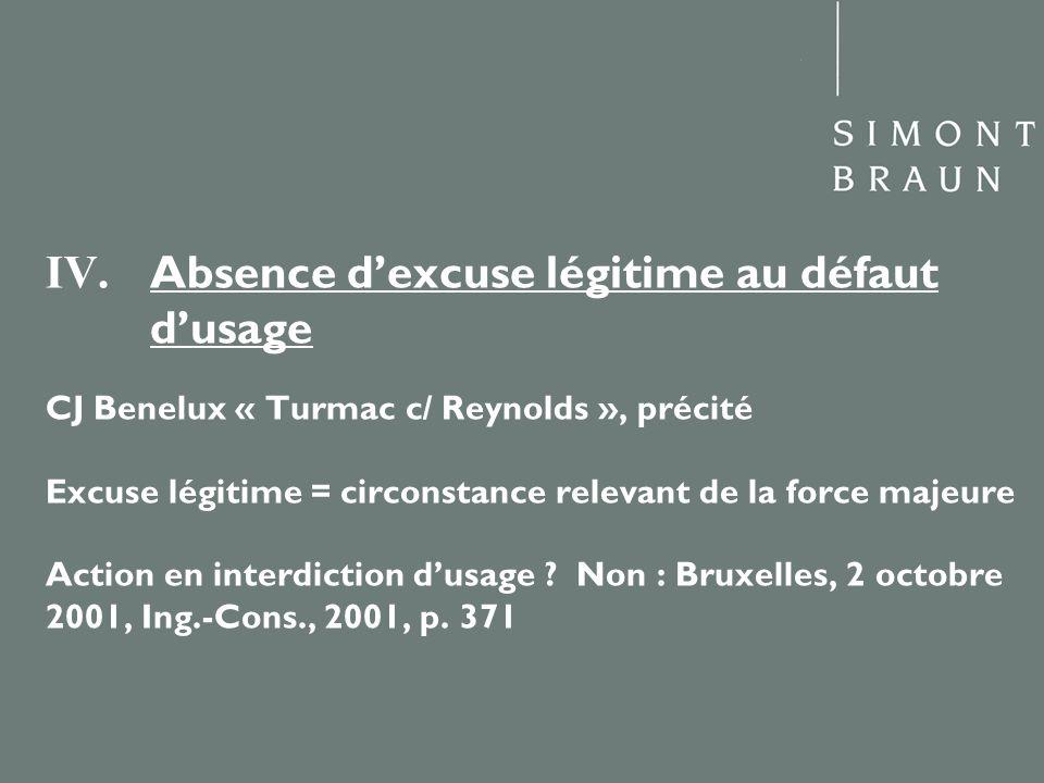 IV. Absence dexcuse légitime au défaut dusage CJ Benelux « Turmac c/ Reynolds », précité Excuse légitime = circonstance relevant de la force majeure A