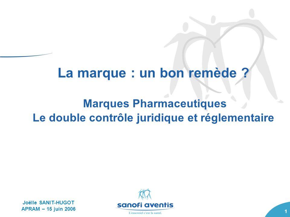 1 La marque : un bon remède ? Marques Pharmaceutiques Le double contrôle juridique et réglementaire Joëlle SANIT-HUGOT APRAM – 15 juin 2006