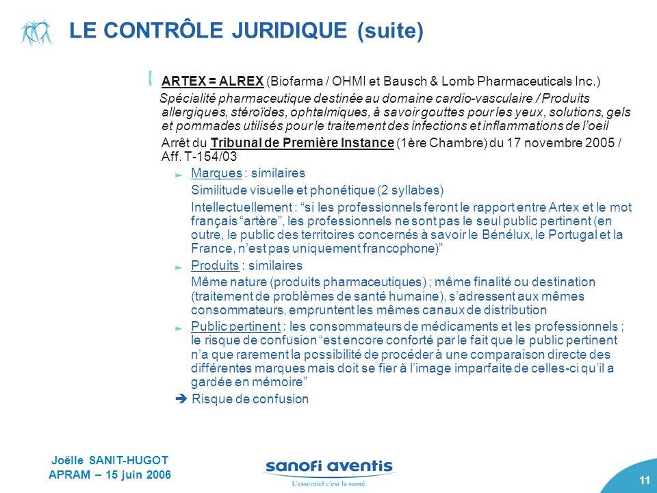 11 LE CONTRÔLE JURIDIQUE (suite) ARTEX = ALREX (Biofarma / OHMI et Bausch & Lomb Pharmaceuticals Inc.) Spécialité pharmaceutique destinée au domaine c
