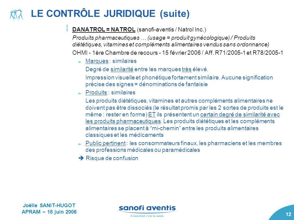 12 LE CONTRÔLE JURIDIQUE (suite) DANATROL = NATROL (sanofi-aventis / Natrol Inc.) Produits pharmaceutiques … (usage = produit gynécologique) / Produit