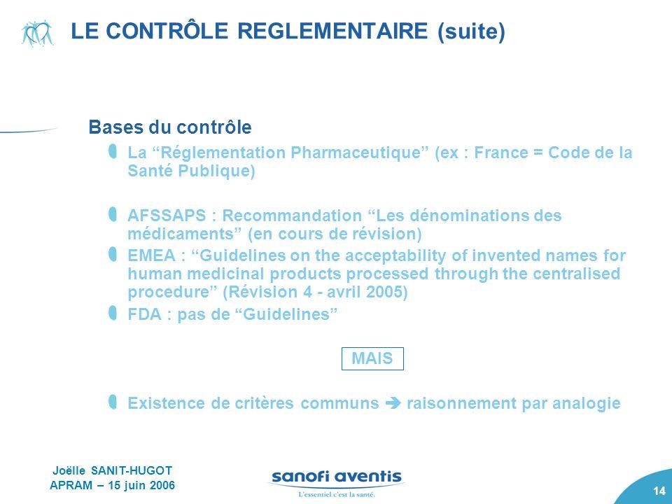 14 Bases du contrôle La Réglementation Pharmaceutique (ex : France = Code de la Santé Publique) AFSSAPS : Recommandation Les dénominations des médicam