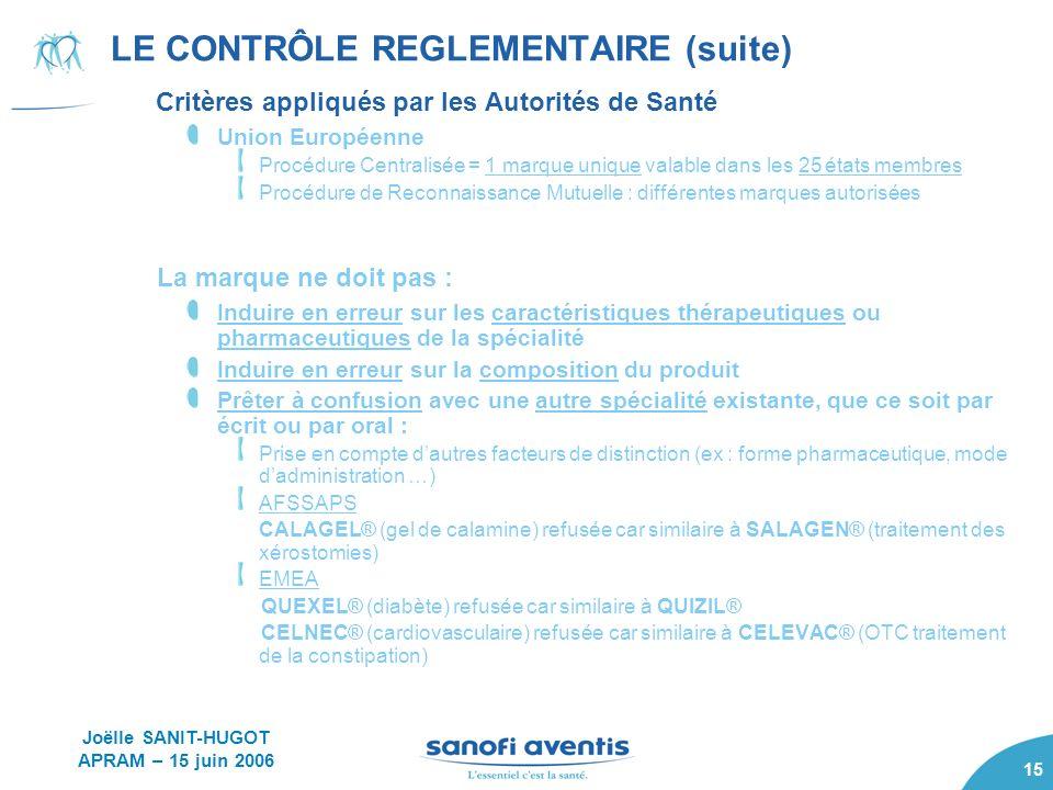 15 LE CONTRÔLE REGLEMENTAIRE (suite) Critères appliqués par les Autorités de Santé Union Européenne Procédure Centralisée = 1 marque unique valable da