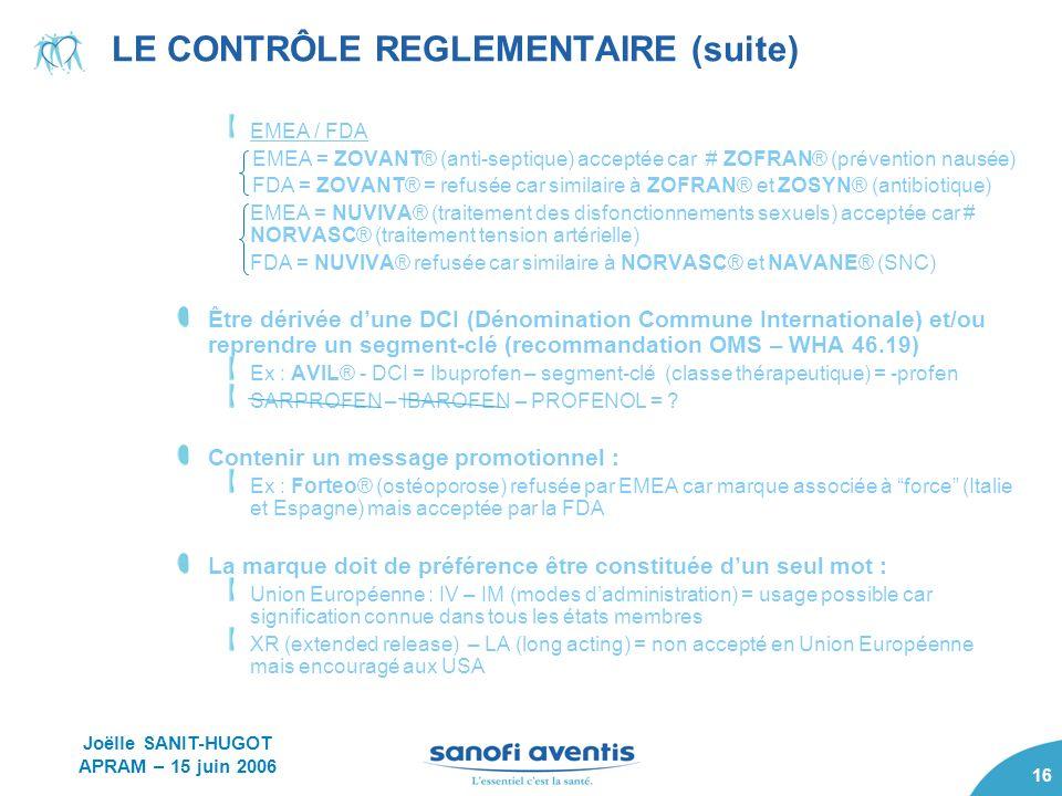 16 LE CONTRÔLE REGLEMENTAIRE (suite) EMEA / FDA EMEA = ZOVANT® (anti-septique) acceptée car # ZOFRAN® (prévention nausée) FDA = ZOVANT® = refusée car