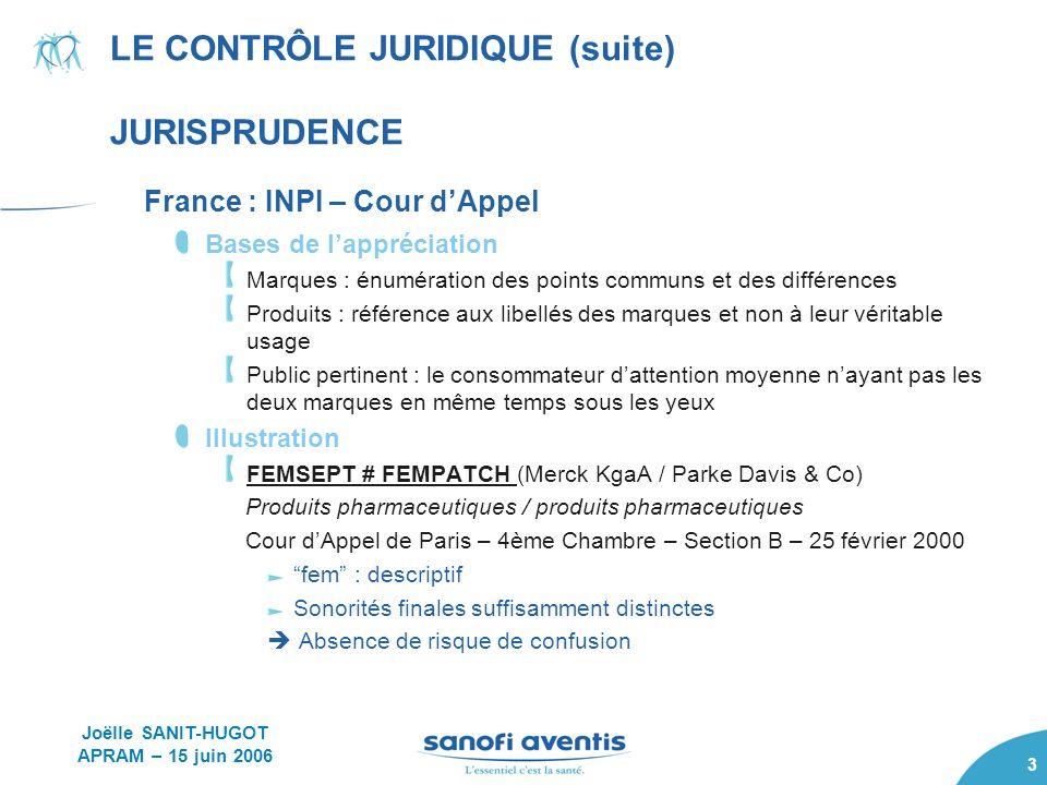 3 LE CONTRÔLE JURIDIQUE (suite) JURISPRUDENCE France : INPI – Cour dAppel Bases de lappréciation Marques : énumération des points communs et des diffé