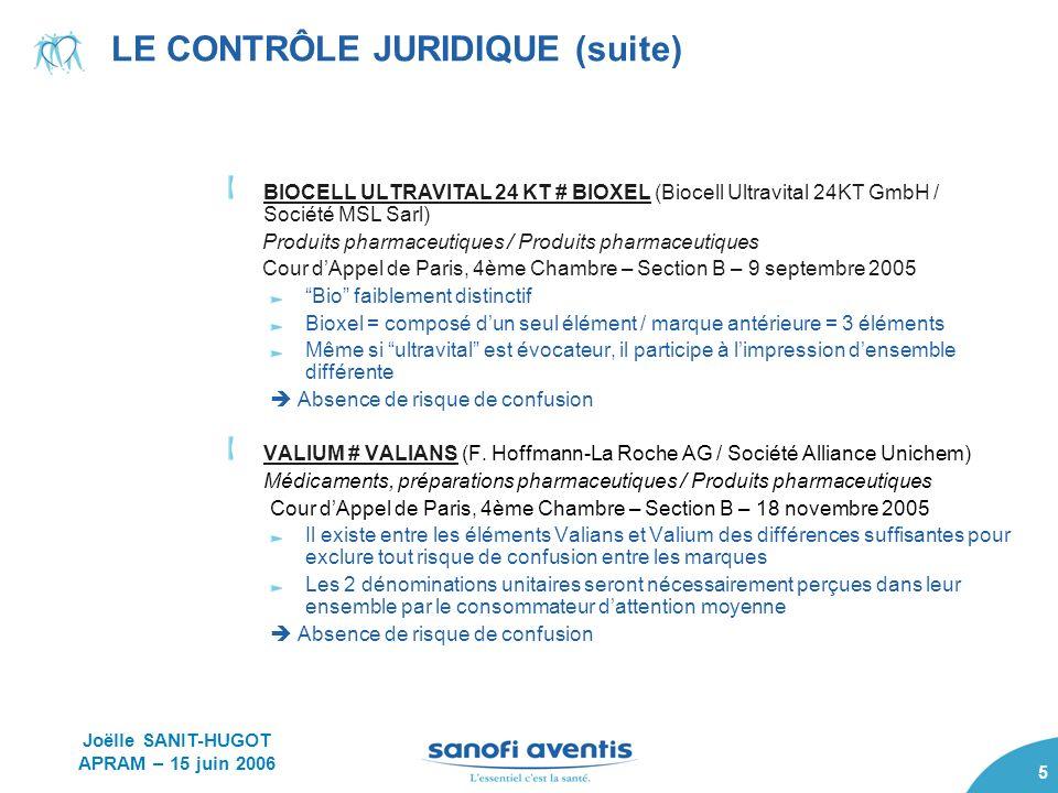 5 LE CONTRÔLE JURIDIQUE (suite) BIOCELL ULTRAVITAL 24 KT # BIOXEL (Biocell Ultravital 24KT GmbH / Société MSL Sarl) Produits pharmaceutiques / Produit
