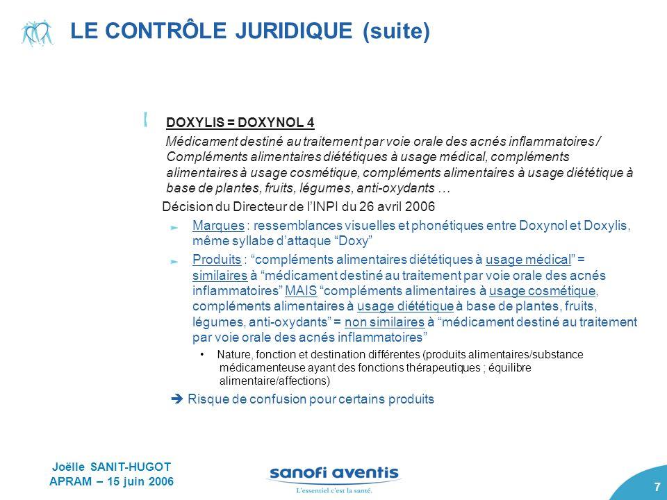 8 LE CONTRÔLE JURIDIQUE (suite) Union Européenne : OHMI – TPI Bases de lappréciation Marques : énumération des points communs et des différences Produits : référence au produit tel quexploité Public pertinent : .