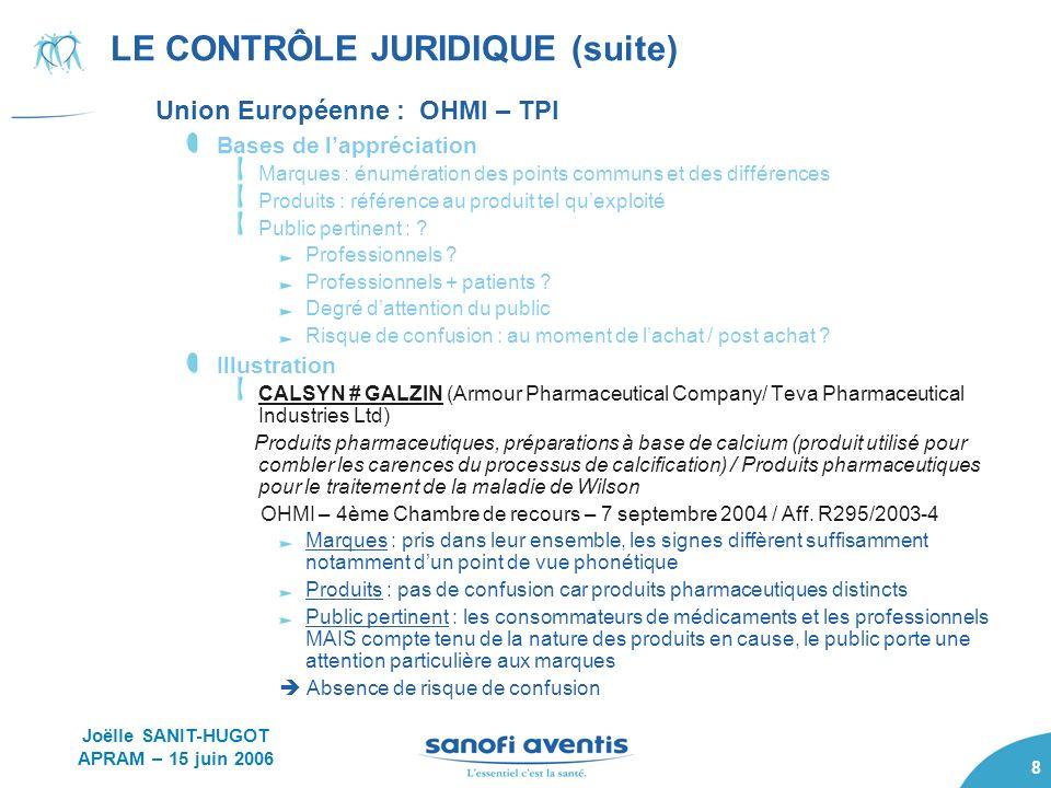 8 LE CONTRÔLE JURIDIQUE (suite) Union Européenne : OHMI – TPI Bases de lappréciation Marques : énumération des points communs et des différences Produ