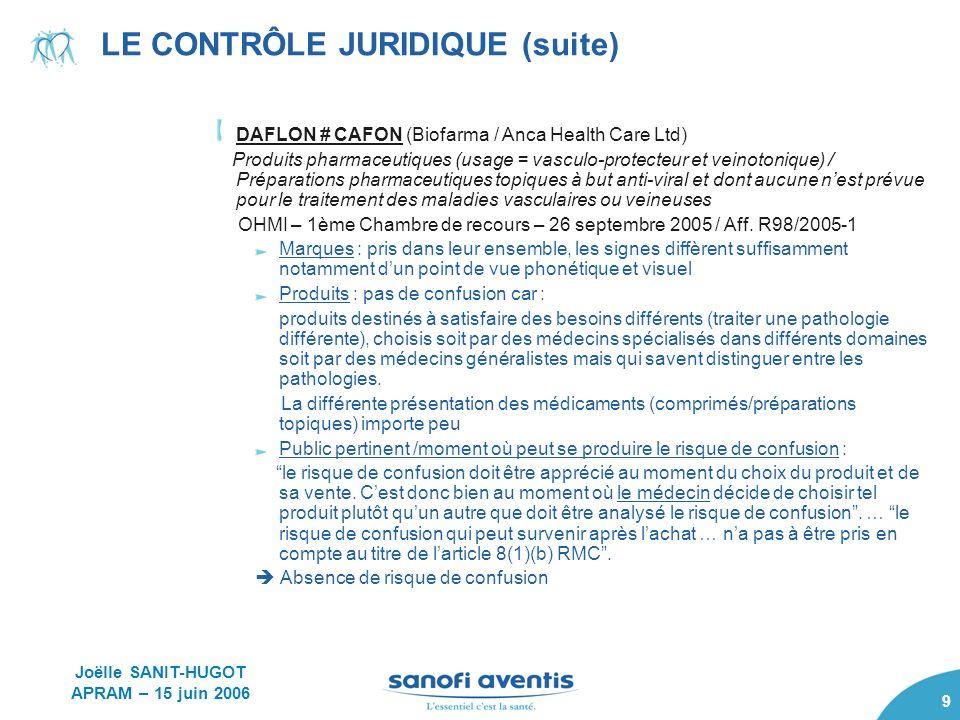 9 LE CONTRÔLE JURIDIQUE (suite) DAFLON # CAFON (Biofarma / Anca Health Care Ltd) Produits pharmaceutiques (usage = vasculo-protecteur et veinotonique)