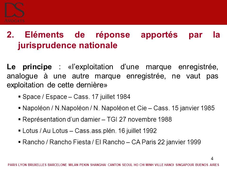 4 2. Eléments de réponse apportés par la jurisprudence nationale Le principe : «lexploitation dune marque enregistrée, analogue à une autre marque enr