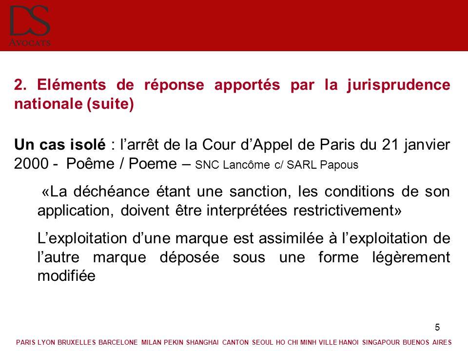 5 2. Eléments de réponse apportés par la jurisprudence nationale (suite) Un cas isolé : larrêt de la Cour dAppel de Paris du 21 janvier 2000 - Poême /