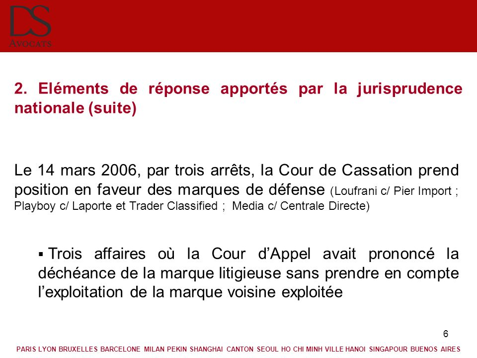 6 2. Eléments de réponse apportés par la jurisprudence nationale (suite) Le 14 mars 2006, par trois arrêts, la Cour de Cassation prend position en fav