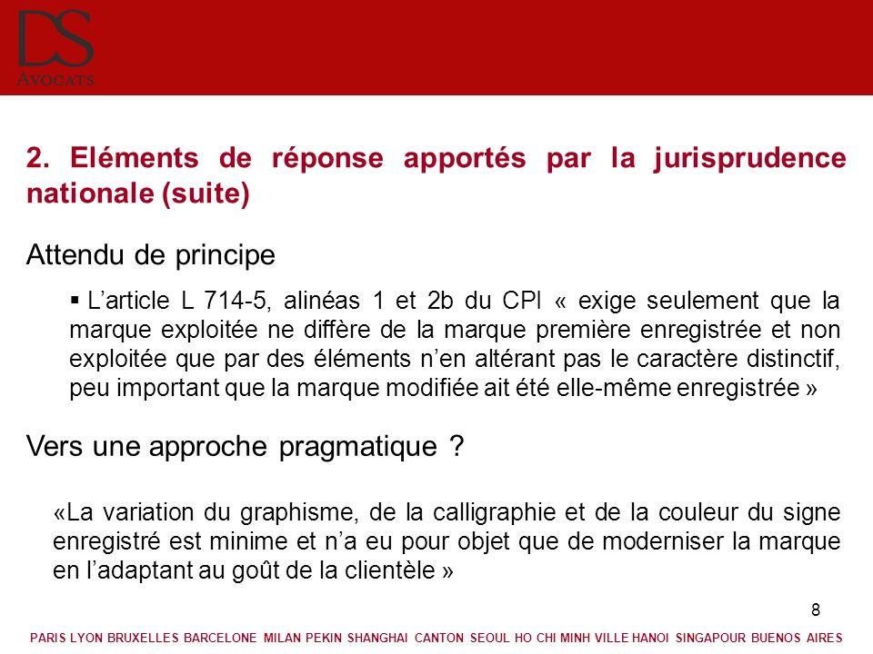 8 2. Eléments de réponse apportés par la jurisprudence nationale (suite) Attendu de principe Larticle L 714-5, alinéas 1 et 2b du CPI « exige seulemen